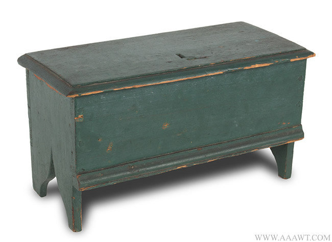 Antique Miniature Blanket Chest/Trinket Box in Old Green Paint, Early 19th Century, angle view