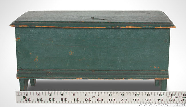 Antique Miniature Blanket Chest/Trinket Box in Old Green Paint, Early 19th Century, with ruler for scale