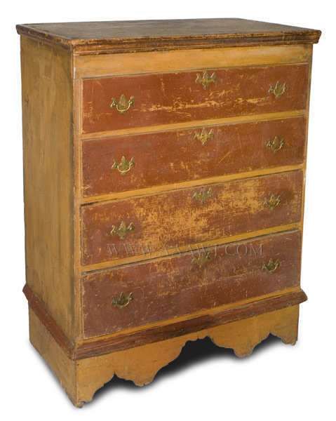 Antique Queen Anne Blanket Chest in Original Paint and Original Brasses, Circa 1740, angle view