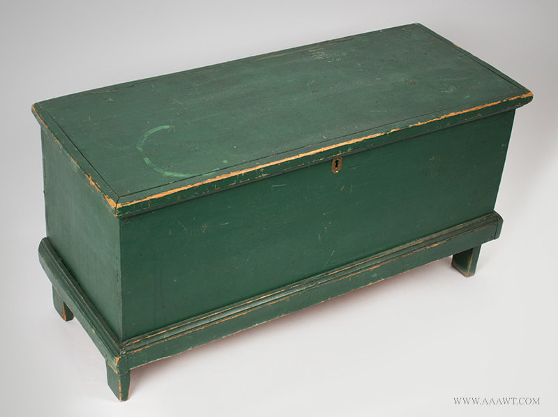 Antique Small Blanket Chest in Original Green Paint, New England, 19th Century, angle view