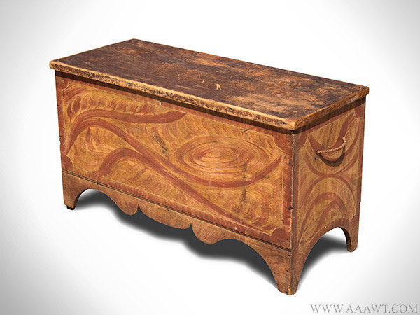 Antique Vermont Paint Decorated Blanket Chest in Original Surface, Circa 1820, angle view