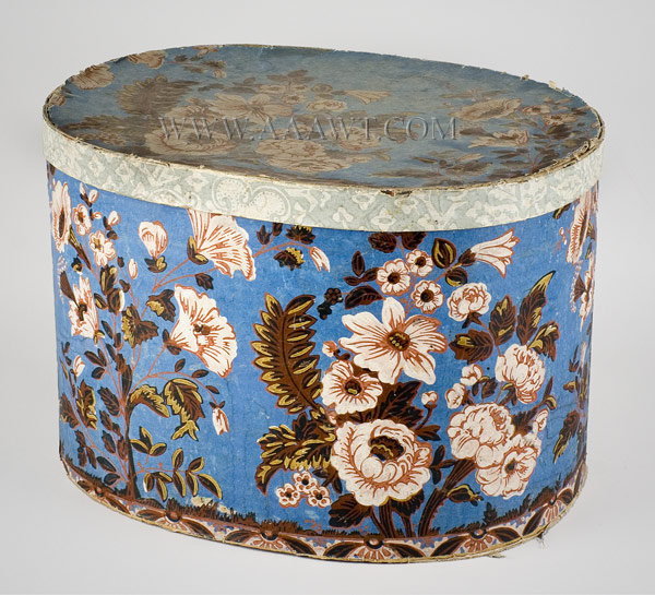 Band Box, Wallpaper, Oval, White Flowers on Blue Ground  America  Circa 1825 to 1845, entire view
