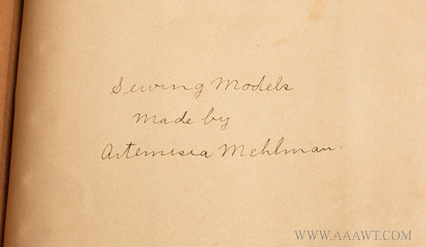 Antique Sewing Book by Artemisia Mehlman, signature detail