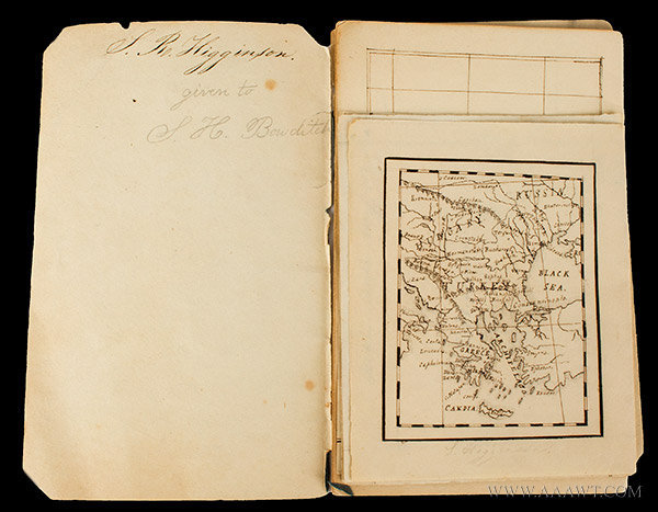 Academy or Schoolgirl Maps; Ink on Paper; Circa 1826 Hand drawn miniature maps of Eastern U.S. States, page 1