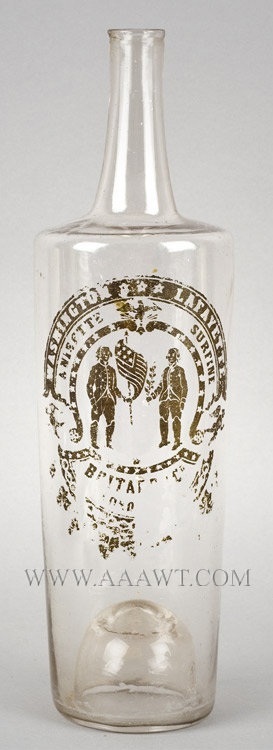 Washington and Lafayette Anisette Surfine Glass Bottle, Commemorative  Possibly French  Circa 1824, entire view
