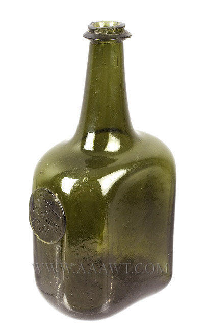Blown Wine Bottle, Rare Uneven Octagonal, Sealed, Excellent Condition  England  1751, entire view