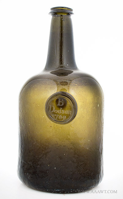 Sealed Wine Bottle, B. Dodson, 1769, Wide Bodied Squat Cylinder, Dark Olive Green  England, 1769, entire view
