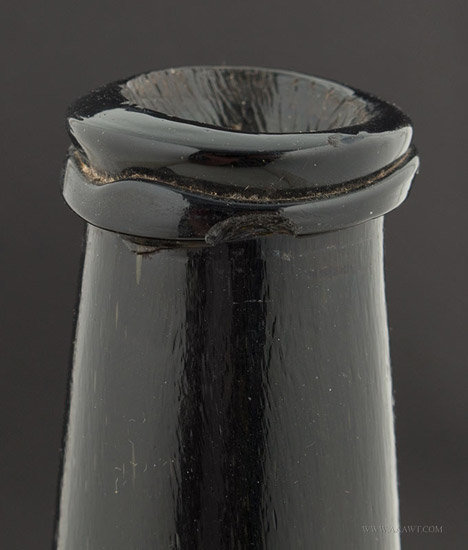 Antique Cylinder Form Blown Wine Bottle, English, Circa 1780, spout detail