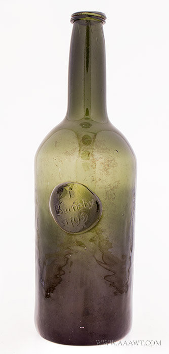 Sealed Cylinder Wine Bottle, I. Barnaby / 1795  Slightly Amber Olive  England, 1769, entire view