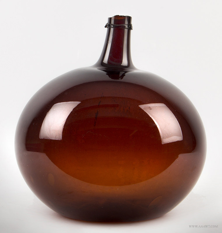Antique Large Blown Amber Demijohn Bottle, Early 19th Century, entire view