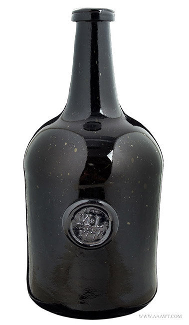 Antique Black Glass Sealed and Dated Wine Bottle, English, 1776, entire view
