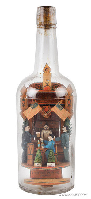 Antique Folk Art Bottle with Whimsey, by Carl Worner, Late 19th Century, entire view