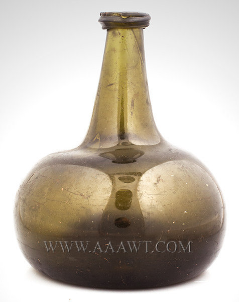 Wine Bottle, Onion Form, Blown Glass, Olive Amber  Dutch  Circa 1710 to 1720, entire view