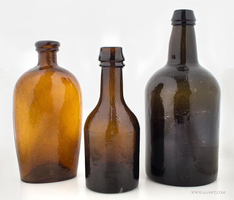 Bottles, Flask, Blown Glass Sold separately, entire view