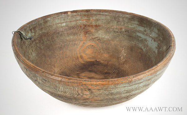 Bowl, Treen Beehive, Mixing & Utility, Original Blue Paint New England, 18th or Early 19th Century Ash, entire view