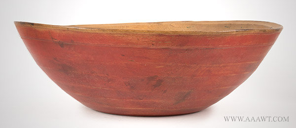 Mixing Bowl, Beehive Turned, Red Paint, Maple New England, Likely 18th Century, entire view