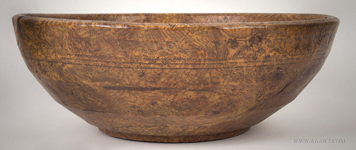 Antique Beehive Turned Ash Burl Bowl with Flaring Rim, Circa 1780, entire view