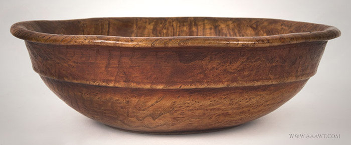 Antique Footed Ash Burl Bowl with Traces of Red, Circa 1800, entire view