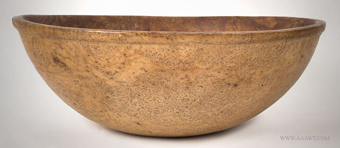 Antique Large Rimmed and Footed Ash Burl Bowl, Circa 1780, entire view