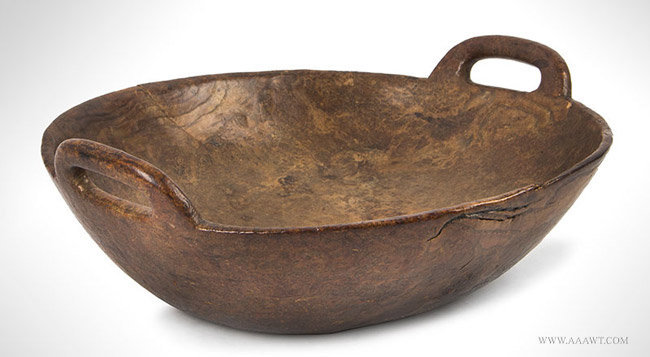 Antique Ash Burl Bowl with Double Pierced Handles, 18th Century, angle view