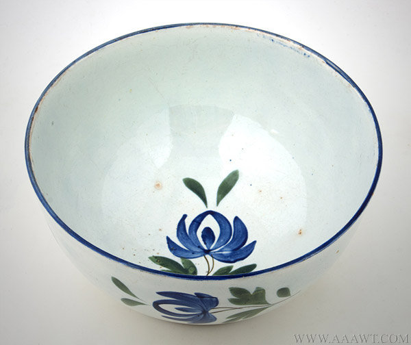 Antique Pearlware Footed Bowl with Floral Decoration, 19th Century, angle view