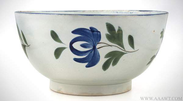 Antique Pearlware Footed Bowl with Floral Decoration, 19th Century, entire view 2
