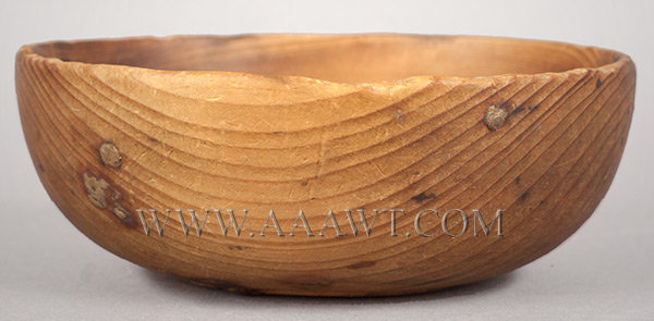 Antique Treen Bowl, Natural Color, China Bowl Form, Footed, Small Size, entire view