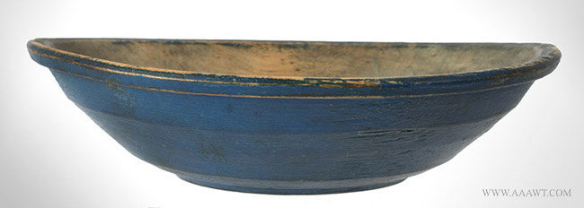 Antique Turned Treen Eating Bowl in Old Blue Paint, New England, 18th Century, side view