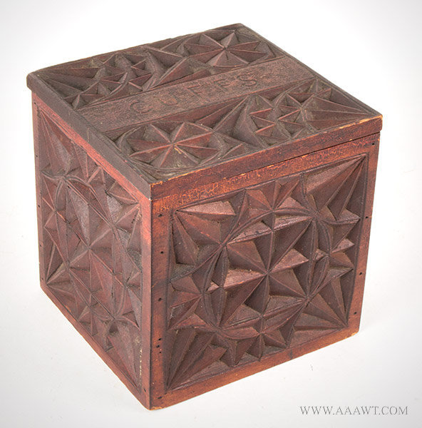 Box, Cuff Box, Geometric Chip Carving, Red Stain, Scratch Carved 'CUFFS'  Anonymous, Circa 1900, entire view