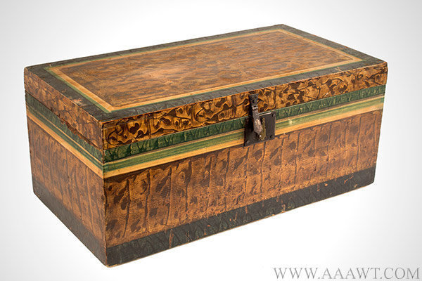 Trunk, Paint Decorated, Flat Top, Vinegar Grained, Four Color, Original Paint American, Early 19th Century, entire view