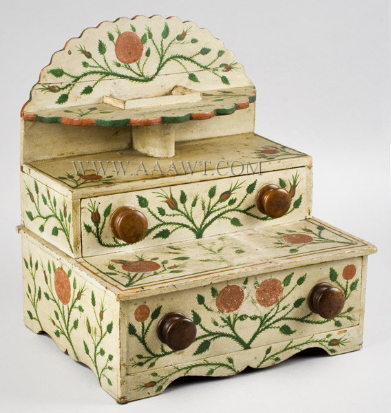 Antique Paint Decorated Table/Dresser Box with Original Freehand Decoration, Circa 1825 to 1835, angle view 1