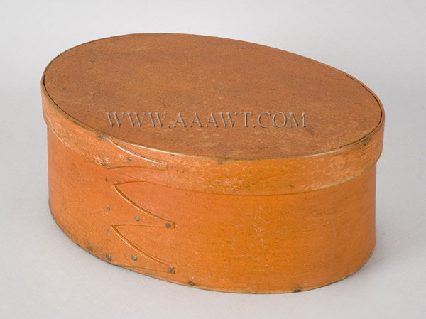 Shaker Bentwood Box, Period Dark Salmon Paint, Nearly Twelve Inches  America  19th Century, entire view