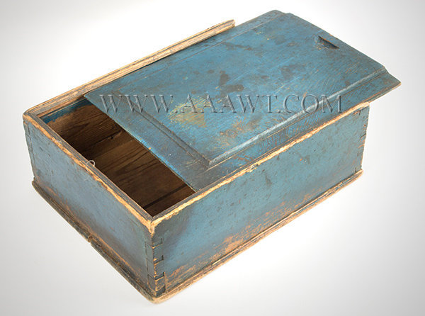 Box, Candle Box Slide Lid, Molded And Carved, Original Blue Paint, Pegged  New England Or Pennsylvania, Circa 1800 To 1825   SOLD