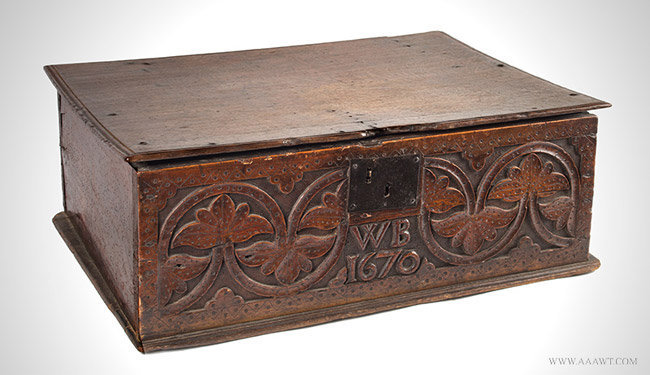 Antique 17th Century Bible Box with Carved and Punch Decoration, England, angle view