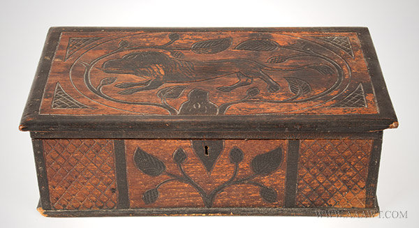 Folk Art Carved Box with Lion and Vines, Original Paint and Stain, 19th Century, angle view