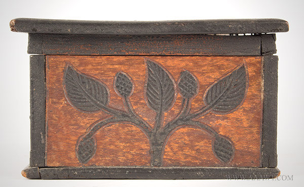 Folk Art Carved Box with Lion and Vines, Original Paint and Stain, 19th Century, side detail