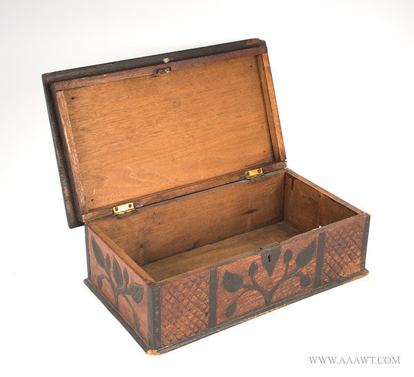 Folk Art Carved Box with Lion and Vines, Original Paint and Stain, 19th Century, open view