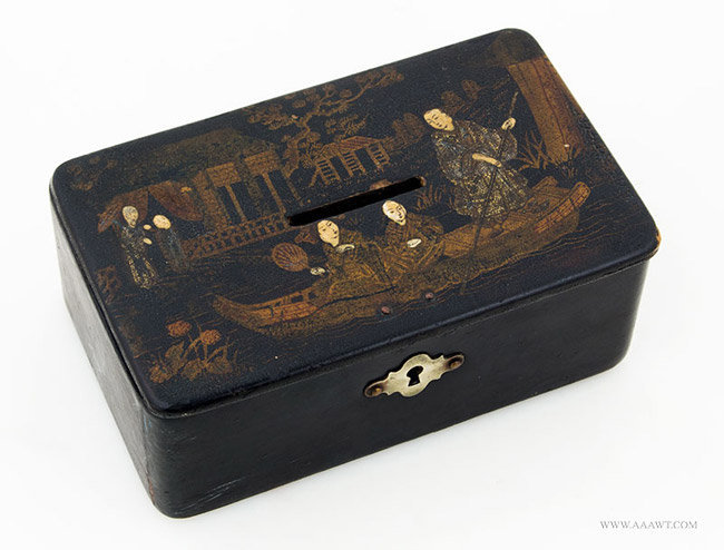 Antique Chinese Lacquered Bank Box, 19th Century, Angle View 1