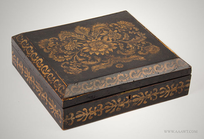 Antique Chinese Lacquered Games Box with Fitted Interior and Canted Lid, Early 19th Century, angle view