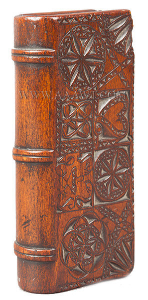 Box, Spruce Gum, Book Form, Chip Carved  Probably 18th Century, entire view