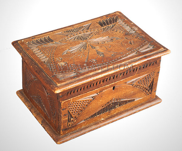 Box, Folk Art, Chip Carved, entire view