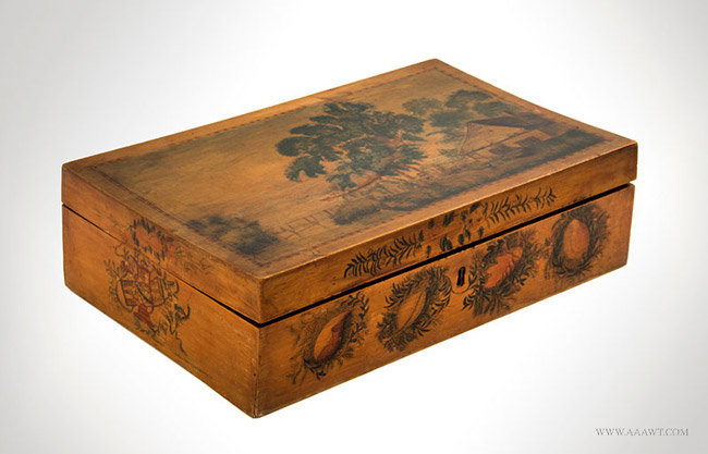 Antique Schoolgirl Paint Decorated Work Box, New England, 19th Century, angle view