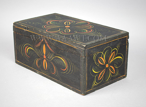 Paint Decorated Trunk, Box, Original Fancy Paint First half 19th Century New England, possibly Maine Basswood, entire view