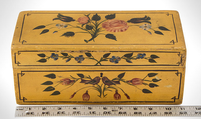 Antique Hand Painted Dresser Box with Original Decoration, 19th Century, with ruler for scale
