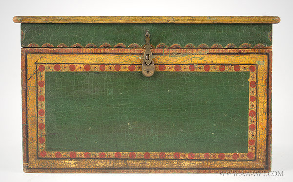 Antique Folk Painted Document Box, Anonymous, 19th Century, open view