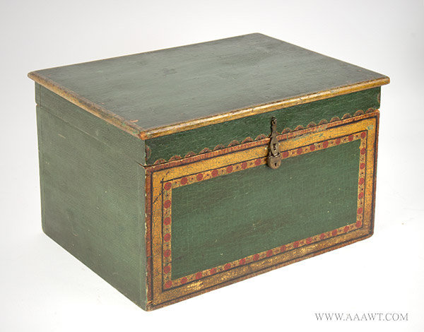 Antique Folk Painted Document Box, Anonymous, 19th Century, angle view