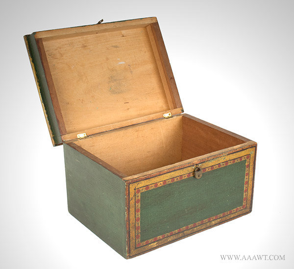 Antique Folk Painted Document Box, Anonymous, 19th Century, front view