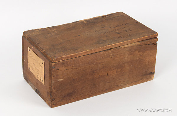 Antique Shipping Box/Lidded Crate from Providence, Rhode Island, angle view