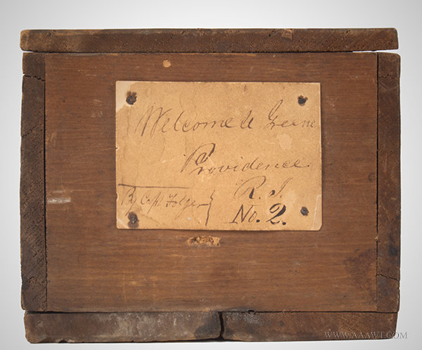 Antique Shipping Box/Lidded Crate from Providence, Rhode Island, side and label detail