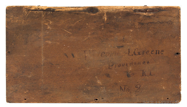 Antique Shipping Box/Lidded Crate from Providence, Rhode Island, top detail